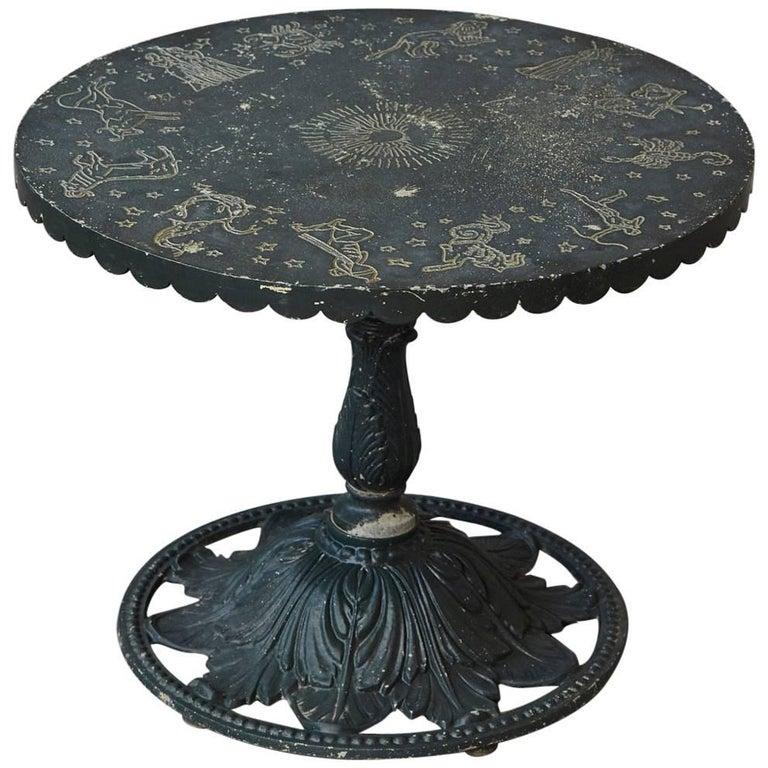Rare Molla Dark Green Cast Aluminium Zodiac Garden Side Table For Sale