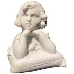 19th Century Neoclassical Style Italian White Marble Sculpture of Angel