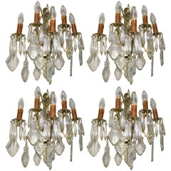 Set of Four French Crystal and Brass Wall Lights Candelabra