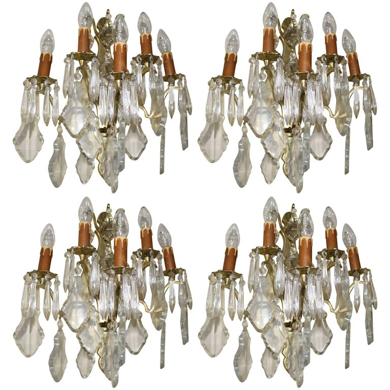 Set of Four French Crystal and Brass Wall Lights Candelabra For Sale