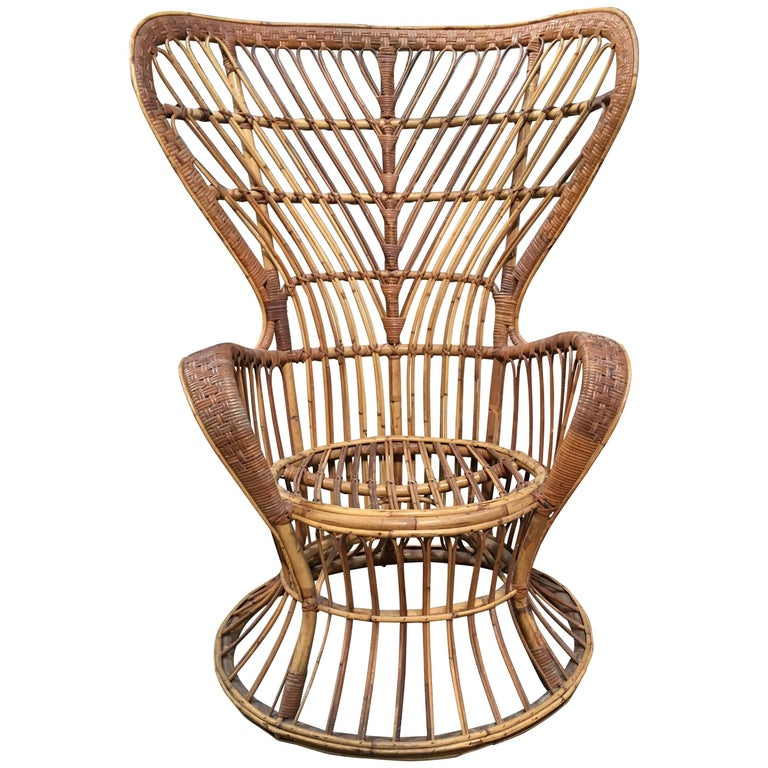 Rattan Chair Designed by Lio Carminati, Edited by Bonacina, Italy, 1940s