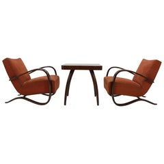 "Pair of Jindrich Halabala Art Deco Armchairs H-269 and Coffee ""Spider"" Table"