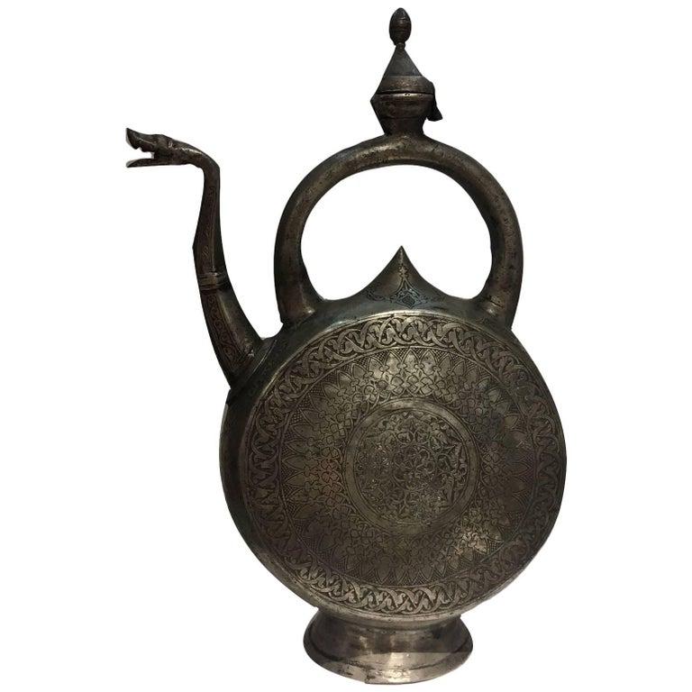 Safavid Tinned Copper Ewer, 17th Century