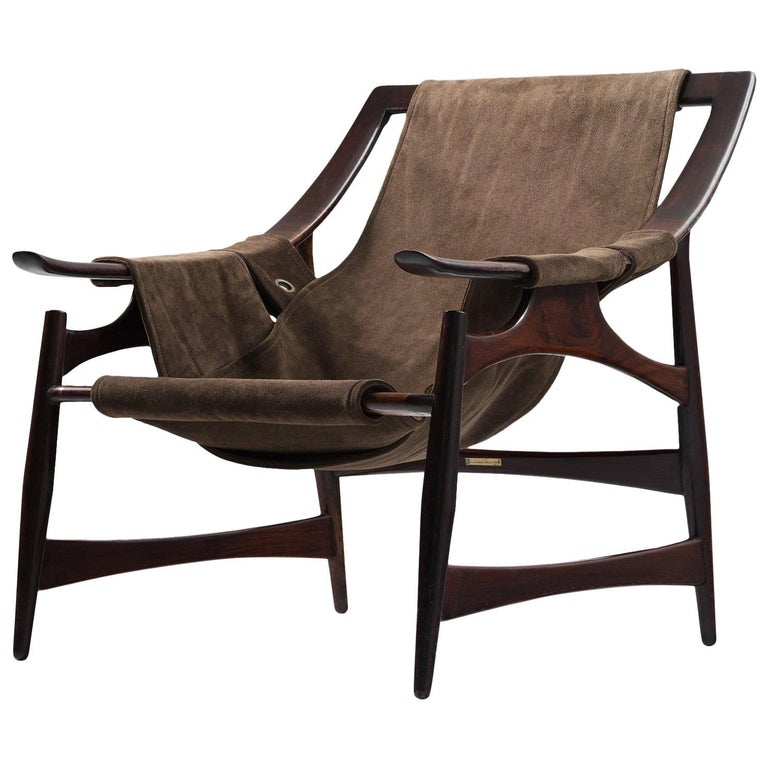Liceu De Artes Sao Paulo Lounge Chair in Rosewood and Brown Suede