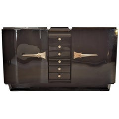 Black Art Deco Sideboard with Serpentine Doors