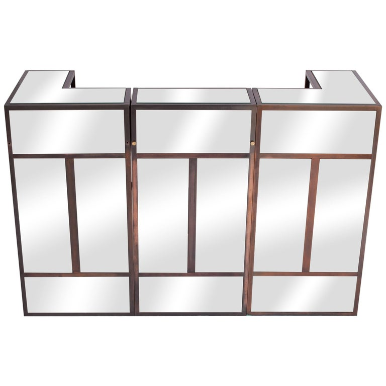 Maison Jansen Brass Mirrored Bar units