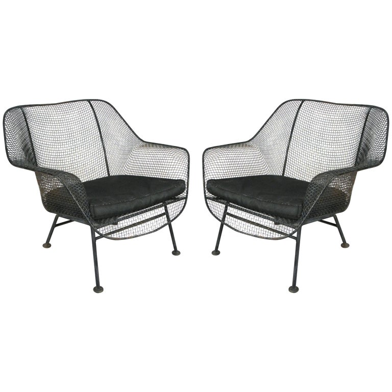Pair of 1950s Woodard Sculptura Lounge Chairs