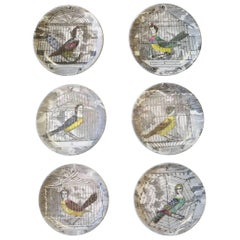 Piero Fornasetti Le Arpie Gentili Coaster Set of Six and Box, circa 1960