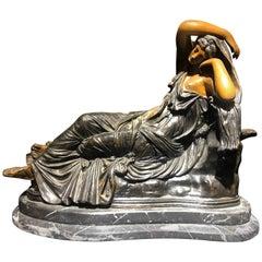 19th Century Italian Bronze Sculpture of Woman Lying on Marble Base