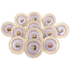 12 English Hand-Painted and Gilt Porcelain Dessert Plates by George Jones
