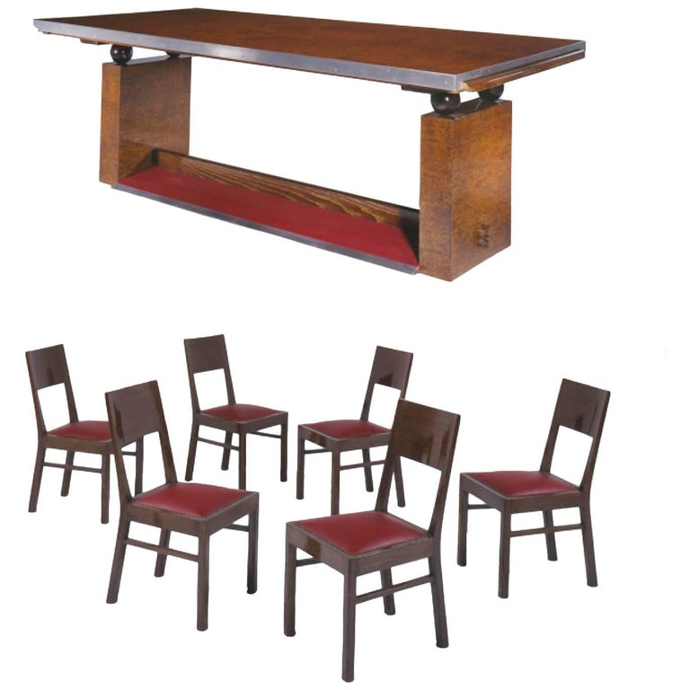 Dining Room Table with Six Chairs by Françisque Chaleyssin, circa 1928