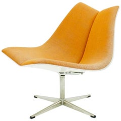 Orange Swivel Chair with Plywood Shell, 1968