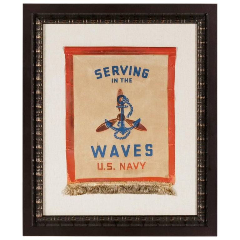 Serving in the Waves, an Extremely Rare WWII Service Banner For Sale