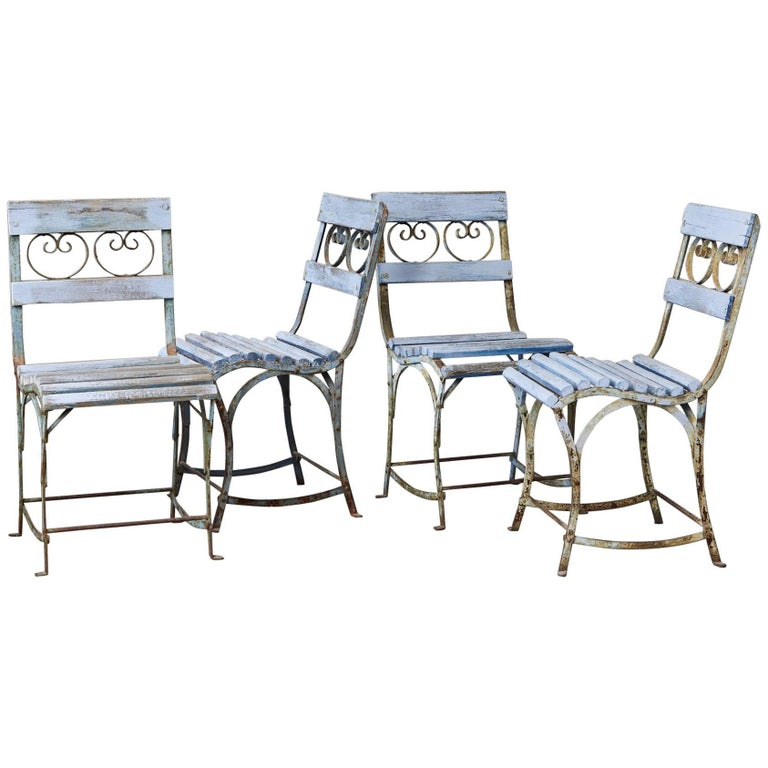 Set of Four French Wrought Iron Garden Chairs with Blue Wooden Slats