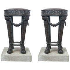 Pair of Bronze Athenae on Marble Bases