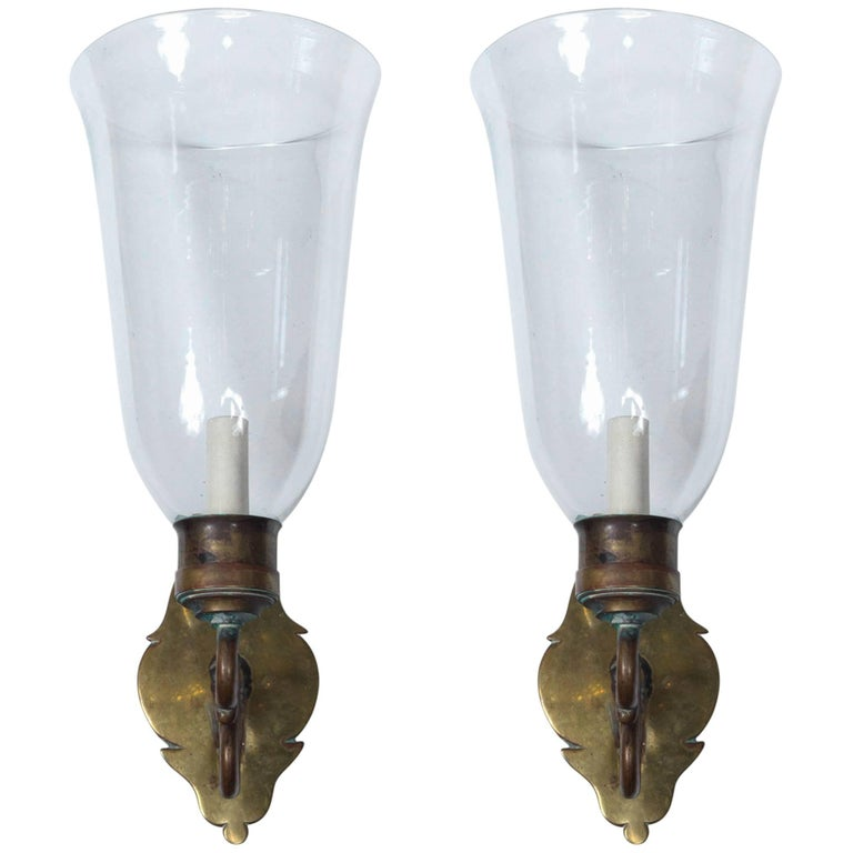 Pair of Brass Backed Hurricane Sconces