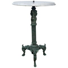 Grand Tour Bronze Table with White Marble Top
