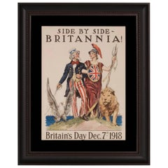WWI Poster Featuring Uncle Sam and Lady Britania