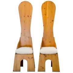 "Pair of ""Fratina"" Chairs by Mario Ceroli for Poltronova, Pine Wood, 1972, Italy"