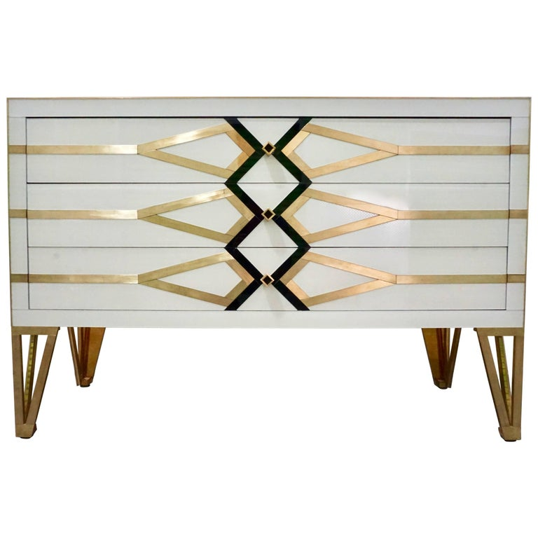 Contemporary Italian Design Gold Brass, Black and Cream White Three-Drawer Chest For Sale