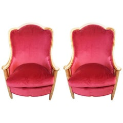 Couple of Armchair, Red Velvet and Wood Painted Gold, France, 1930