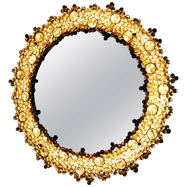 Fantastic gold Palwa Mirror with Swarovski Crystals Lid Up, Germany, 1970s