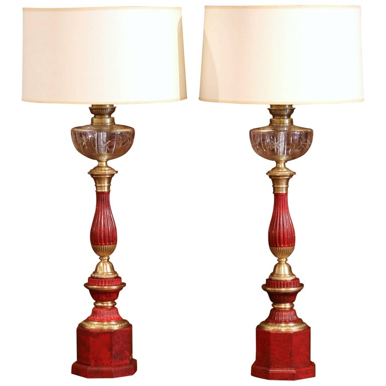 Pair of French Napoleon III Painted Tole Brass and Cut-Glass Table Oil Lamps