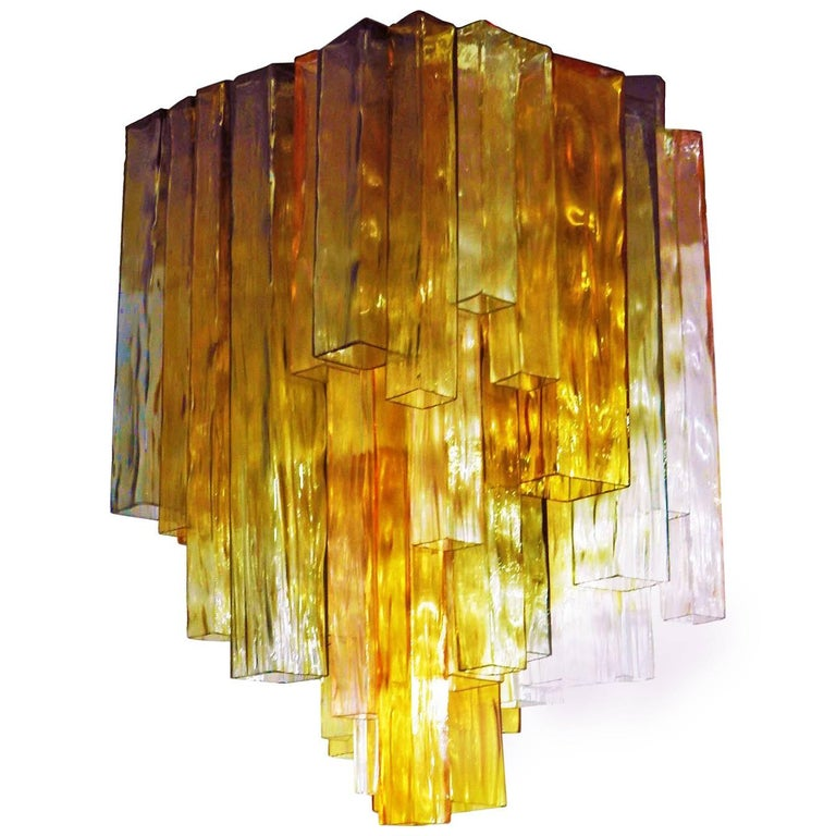 Barovier & Toso Chandelier Venini Four-Color Glass Flush Mount Ceiling Light