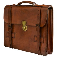 Mid Tan Leather Flap-Over Briefcase, circa 1940