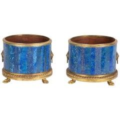 Pair of Gilt Bronze Lapis Lazuli Planters