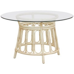 Bamboo Rattan Lacquered Round Dining Table by Brown Jordan