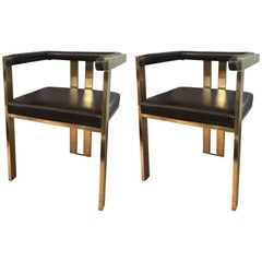 Pair of Brass and Brown Leather Italian Contemporary Style Dining Chairs