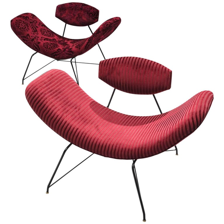Martin Eisler Armchairs in Red Velvet For Sale