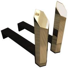 Hexagonal Solid Brass Andirons, Pair