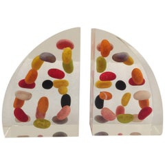 Vintage Lucite Jellybean Bookends