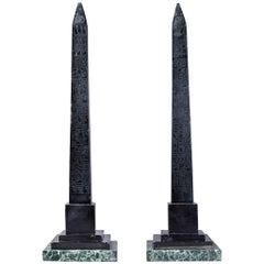 Pair of Large 19th Century Italian Grand Tour Black Marble Nero Antico Obelisks