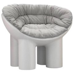 Roly Poly Small Polyethylene Armchair in Concrete with Cushions by Faye Toogood