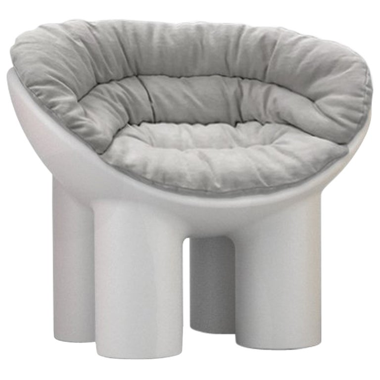 Roly Poly Polyethylene Armchair in Concrete with Cushions by Faye Toogood