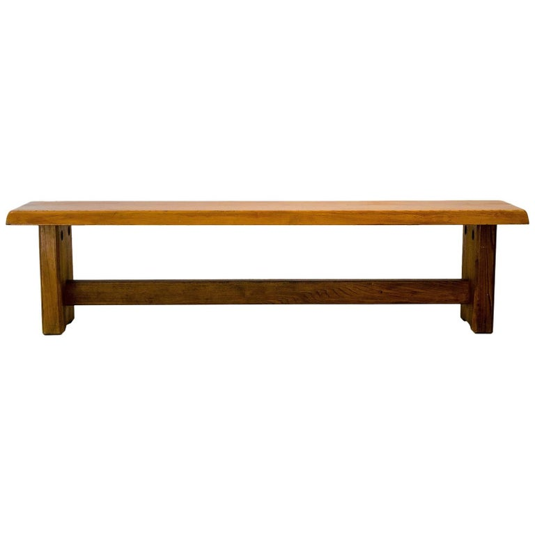 Pierre Chapo Midcentury Solid Elm Wood French Bench, 1960s