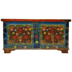 Hungarian Pine Trunk or Blanket Chest in Original Paint