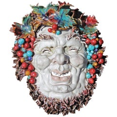 Italian Midcentury Majolica Hanging Mask of Bacchus by Professor Pattarino