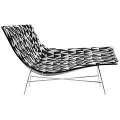 Patterned Full Moon Chair with Black Lacquered Shell, Ludovica & Roberto Palomba
