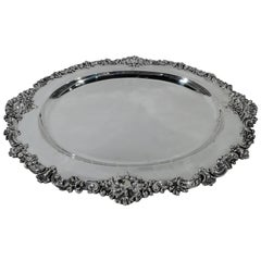 Large and Fancy Antique American Sterling Silver Serving Tray