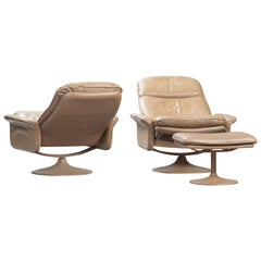 De Sede Reclining Leather Armchairs with Ottoman, Set of Two