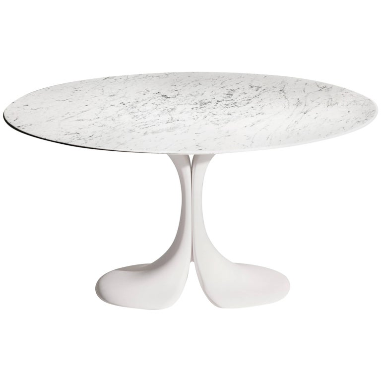 Didymos Round Table with White Marble Top by Antonia Astori for Driade