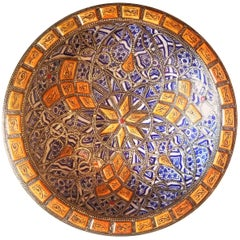 Metal and Camel Bone Inlaid Moroccan Hand-Painted Plate - Blue / White