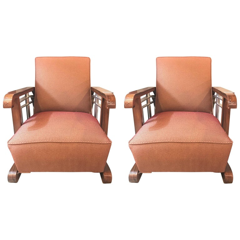 Pair of Mid-Century Modern Art Deco Style Lounge/ Theater Armchairs