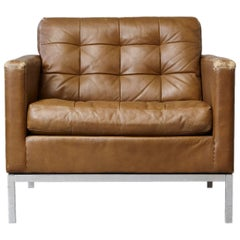 Florence Knoll Tan Leather Button Tufted Lounge Chair, 1970s