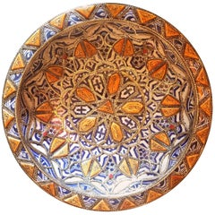 Metal and Camel Bone Inlaid Moroccan Hand-Painted Plate, Blue / White