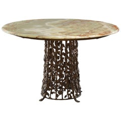 Italian Centre Table with Brass Base of Leaves and Onyx Top